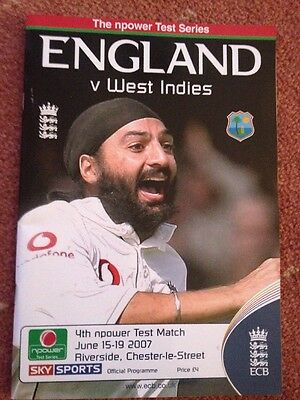 2007 - England v West Indies at Old Trafford, 4th Test Match Programme Durham