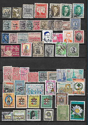 Middle East countries 80 used stamps + 2 MSs