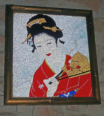 estate  sale /ANTIQUE **decorative beaded  work  complete  frame*  magnificent