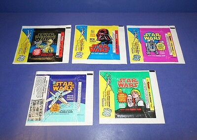 1977 Topps Star Wars Empty Wax Wrapper Complete Set Series 1-5 *inv5548