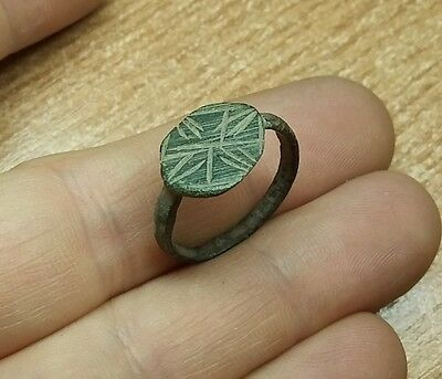 Old Antique bronze  Post-Medieval Ring with  Engraved    #2021