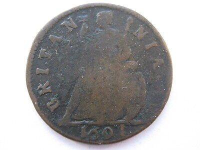 1694 Farthing date shows as 1691 due to die fill