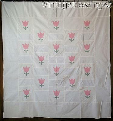"Lovely! Vintage 30-40s Pink Tulip Applique QUILT TOP 84"" x 77"""