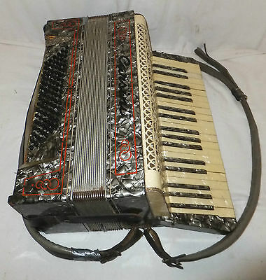 CARSINI Piano ACCORDION 37 Key VINTAGE Carry STRAPS Grey DECORATIVE