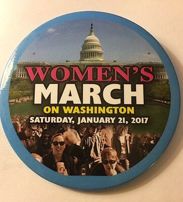 """3"""" Women's March Against Trump on DC Day After Inaugural Cause Pinback Button"""