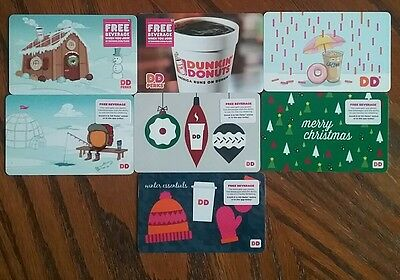 Lot of 7 Dunkin Donuts Gift Card Collectibles