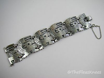 Vintage CORO Wide Aztec Link Bracelet with Safety Clasp