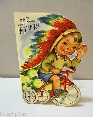 Vtg Christmas Card Rust Craft M. Cooper Mother Indian Chief Child Tricycle