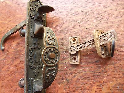 Antique Fancy Bronze & Brass Gate Handle Set - Thumb Handle, Keeper c1885