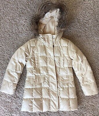 GAP KIDS Girl's WARMEST JACKET Coat PARKA Puffer Faux Fur DOWN Ivory 6-7 small