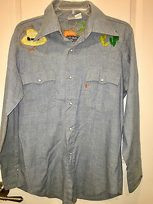 Vintage 70's Levi's Orange Tag Embroidered Chambray Snap Button Down Shirt M