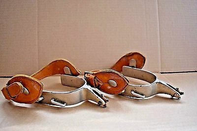 Vintage Spurs Western Americana Collectible Metal Leather Strap Cowboy Horse