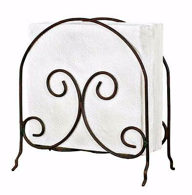 Scroll Napkin Holder Basic Rustic Metal Colonial Tin Works 840037GR NEW