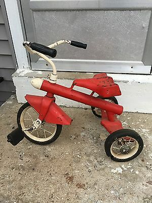 Vintage~AMF Junior Trike Toy~Red & White~Rocket Tricycle~Atomic Age~Mid Century