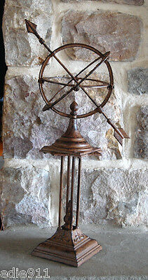 """GARDEN SUNDIAL ARMILARY  Cast Iron NEW  """"Count Only Sunny Hours""""   23""""  CLASSIC"""