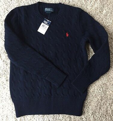 NEW Polo Ralph Lauren Boys Cable Knit Sweater Navy Blue Size M (10-12) & FREE