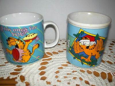 Enesco Lot Of 2 Vintage  Garfield Cat Coffee Mug By Jim Davis