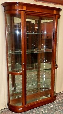 PULASKI CHERRY CURIO CABINET Curved End Glass Lighted Display Side Load #11210 1