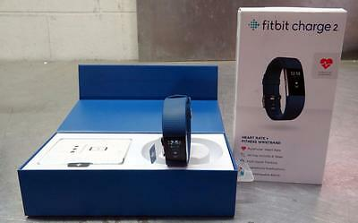 Fitbit Charge 2 Blue Band Series Heart Rate+Fitness Wristband NO RESERVE