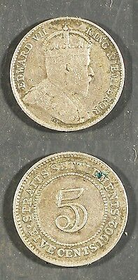 1902  Straits Settlement 5 cents SILVER -  Solid VG/FINE   stk#2e87
