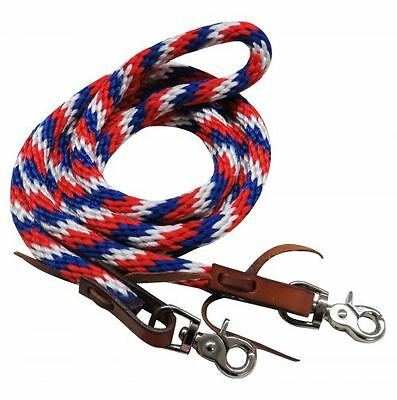 New Red White & Blue Braided Nylon Roping Barrel Racing Loop Reins.  Horse Tack