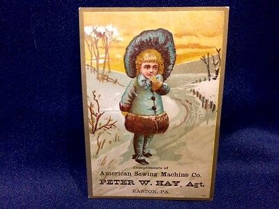 Old Peter Hay Victorian Trade Card American Sewing Machine Girl Bonnet Easton PA