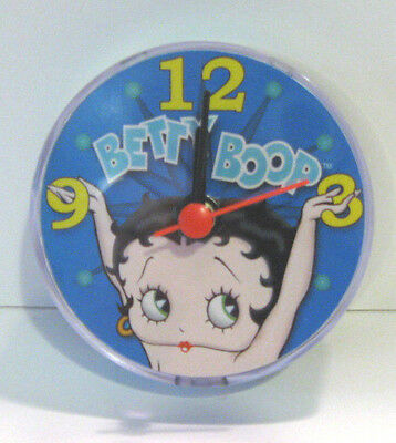 """BETTY BOOP CLOCK Magnetic for Locker, Office,  3"""" Round Uses 1 AA Battery NEW"""