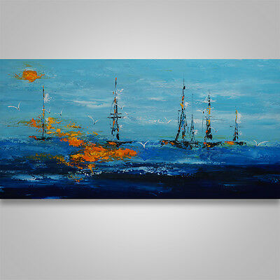 Abstract Painting Art Original  palette knife wall decor ship seascape  #166