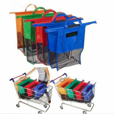4pcs a set of Shopping Bags Reusable Carrier Trolley Bags 4 colors Cartable Tote