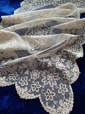 """Beautiful Antique Embroidered Net Lace Cream Table Runner 35x15"""" Exquisite (ng)"""