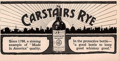 Early 1900 's Ad Carstairs Rye Whiskey Shining Example