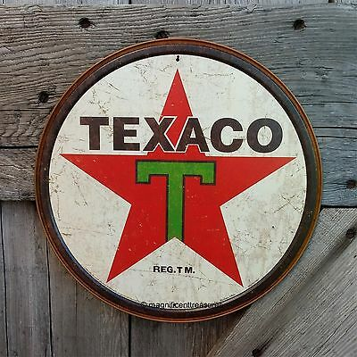 """Texaco Gasoline Gas And Oil Texas Company 12"""" Round Tin Embossed Metal Wall Sign"""