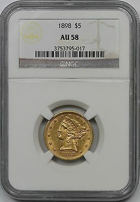 1898 $5 Liberty Half Eagle Five Dollar Gold NGC AU58 AU 58
