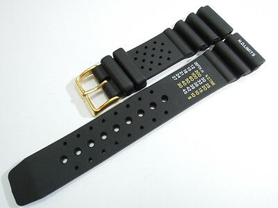 New 22Mm Citizen N.d.limits Black Rubber Strap Goldplated Buckle For Men's Watch
