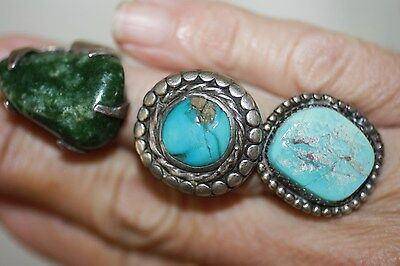 Vintage Sterling Silver Turquoise Malachite Ring Lot