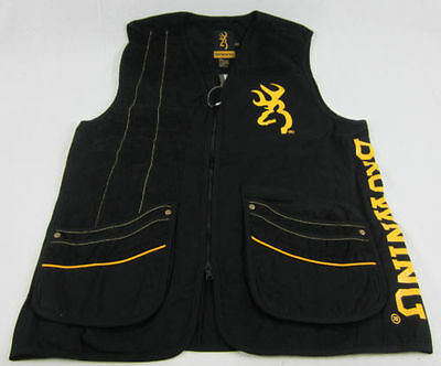 Mens NWT Black Team Browning Shooting Vest Buckmark Gold & Black 2XL