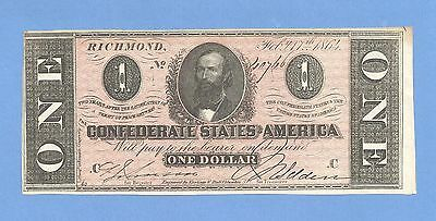1864 $ 1 Confederate Currency T-71 Uncirculated Grade Civil War History