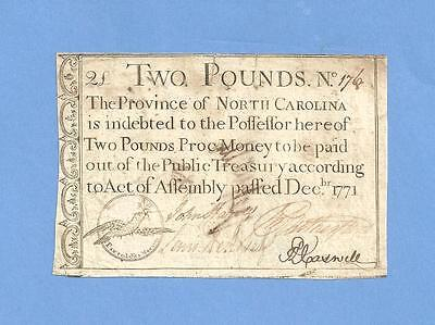 1771 Two Pounds North Carolina Colonial Currency History Very Fine Condition