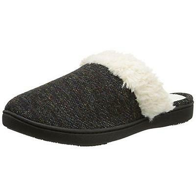 Isotoner 4302 Womens Black French Terry Sherpa Clog Slippers Shoes M 7.5-8 BHFO