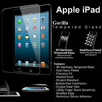100% Genuine Tempered Glass Screen Protector For Apple Ipad 2 3 4 Air Mini Pro