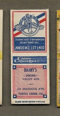 Danny`s Cigars Cigarettes Turtle Creek Pa Matchcover A466