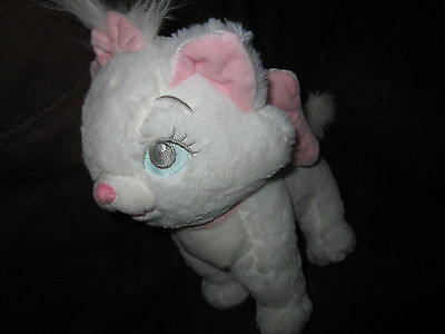 Disney PARKS Marie Aristocats WHITE CAT LARGE PLUSH STUFFED TOY PINK BOW