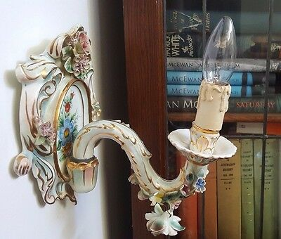 Floral Encrusted Porcelain Sconce / Wall Light - Spain