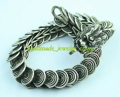 Collectables! China Old Tibet Silver dragon shape link Archaic bracelet
