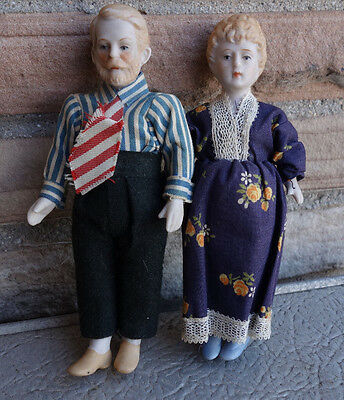 """Man and Woman Pair of All Bisque Dollhouse Sized Dolls 6"""""""