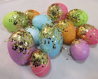 Easter Gold Glitter Pastel Eggs Ornaments Tree Decorations Decor Qty of 12