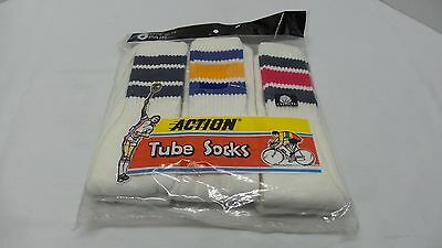 Vintage New in Package 80's Cotton Action Tube Socks 6 Pair