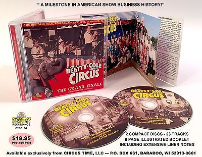 Clyde Beatty Cole Bros Circus Band 1996 GRAND FINALE two Audio CD set & Booklet
