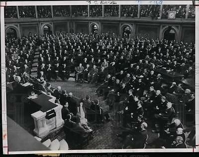 1947 Press Photo President Harry Truman Addresses Joint Session of Congress