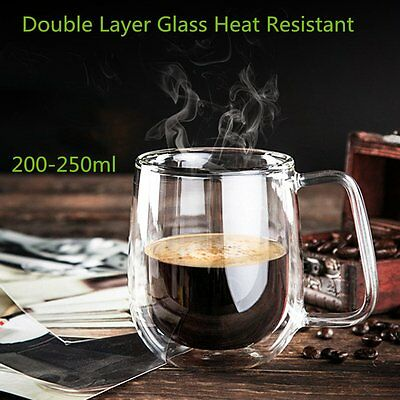 Transparent Double Layer Glass Heat Resistant Tea Coffee Mug Insulation Cup XRAU
